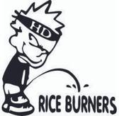 Pee On Rice Burners Sticker