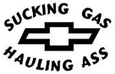 Sucking Gas Hauling Ass Chevy Sticker