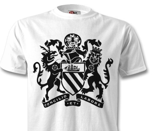 Bold black printing on a crisp white t-shirt.
