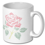 Lancashire Red Rose Dad Word Cloud Mug - Free UK Delivery