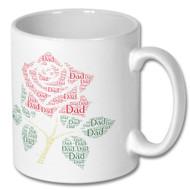 Lancashire Red Rose Dad Word Cloud Mug - Free UK Delivery