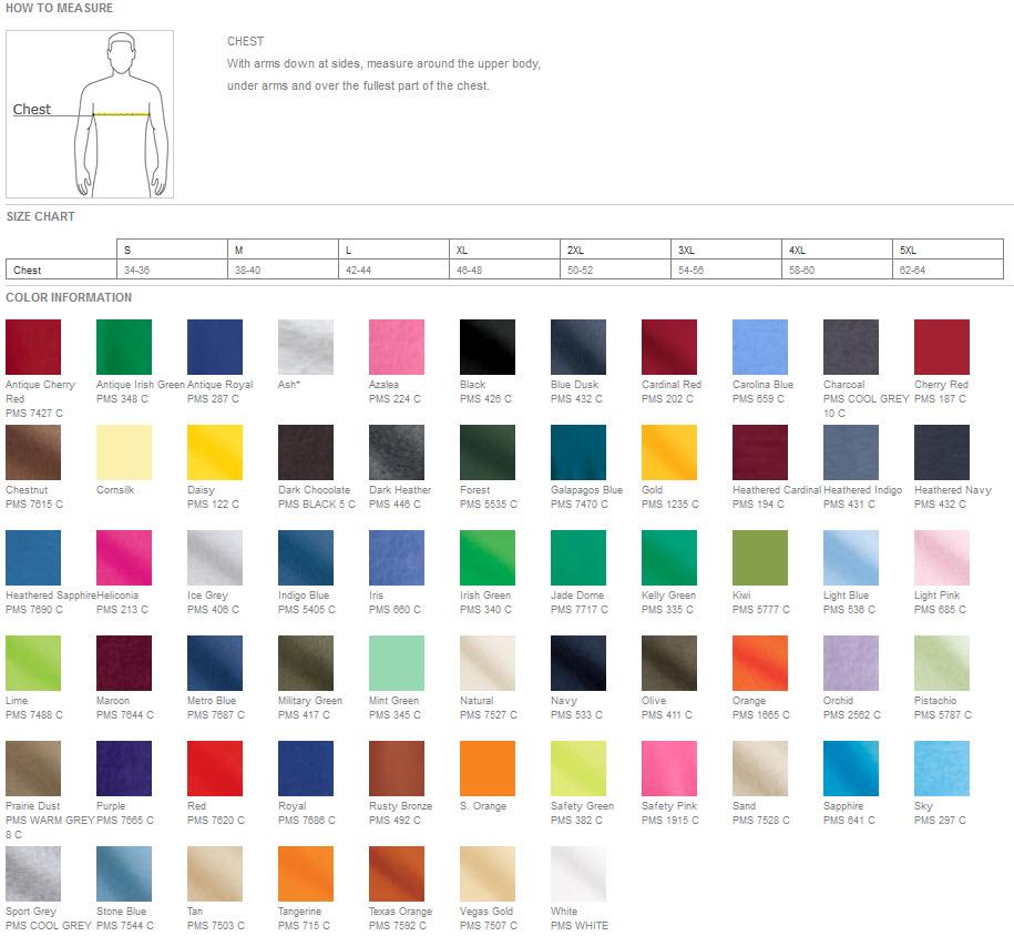 Gildan Color Chart Joe S Usa Gildan 2000 Ultra Cotton T