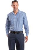 Red Kap - Long Sleeve Striped Industrial Work Shirt. CS10.