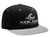 Koloa Surf Black/Grey Snapback Hat with Grey Embroidered Classic Wave Logo