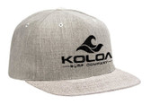 Koloa Surf Heather Grey Snapback Hat with Black Embroidered Classic Wave Logo
