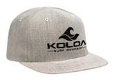 Koloa Surf Heather Grey Snapback Hat with Black Embroidered Classic Wave Logo