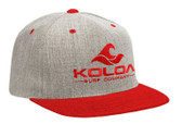 Koloa Surf Heather Red Snapback Hat with Red Embroidered Classic Wave Logo