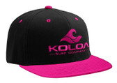 Koloa Surf Black/Pink Snapback Hat with Pink Embroidered Classic Wave Logo