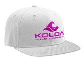 Koloa Surf White Snapback Hat with Pink Embroidered Classic Wave Logo