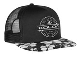 Black / Hawaiian Fowers Bill with White Embroidered logo