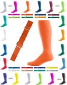 Joe's USA Adult Baseball Belt And Sock Combo - Orange