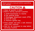 CAUTION DECAL FOR HOODS