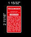 TECUMSEH ENGINE LUBRICATION DECAL