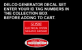 DELCO GENERATOR DECAL AND ID TAG DECAL