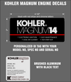 KOHLER MAGNUM ENGINE REPRODUCTION DECALS
