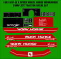 1983 GT1142 8 SPEED  WORKHORSE  BY WHEEL HORSE TRACTOR DECAL SET