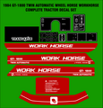 1984 GT1800 TWIN AUTOMATIC  WORKHORSE  BY WHEEL HORSE TRACTOR DECAL SET