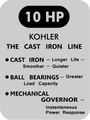 MECHANICAL GOVERNOR HP ENGINE DECALS ON BRUSHED CHROME 8 through 16 HP for KOHLER