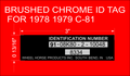 BRUSHED CHROME AND BLACK ID TAG DECAL for 1978 and 79 C-81 thru c-161