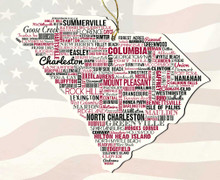 South Carolina Wooden State Ornament