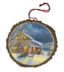 Country Cabin Wood Ornament