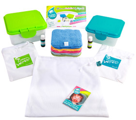 Baby Wipes All-In-One Kit (contents) Rainbow - Terry Cotton Wipes