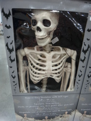 """Halloween 5"""" Pose-N-Stay Skeleton With Red LED Eyes - 1 