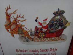 Santa Sleigh and Reindeer W/ Rotating Train Scene Batteries Sold Separately | Fairdinks