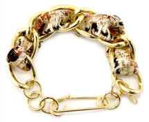 Cecilia Silk Bracelet GOLD/BLUE