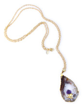 Agate Geode with Amethyst Inset Necklace