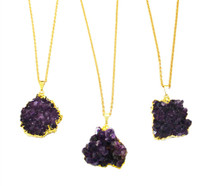 Raw Amethyst Cluster Necklace
