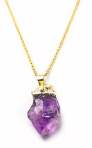 Amethyst Gold Dipped Point Necklace