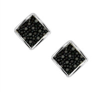 Raya Stud Earring - Silver with Black or White