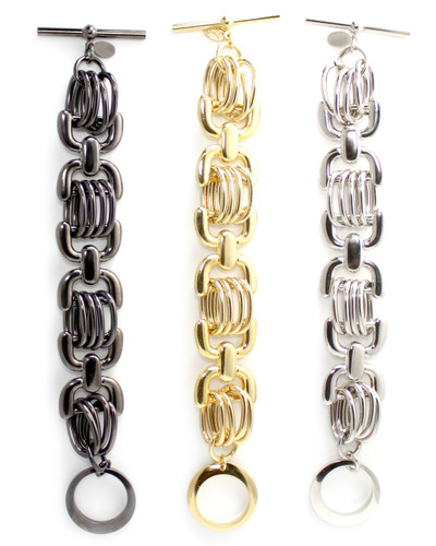 Gunmetal, gold, silver plated