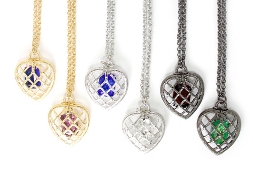 Gold/sapphire, Gold/radiant orchid, Silver/sapphire, Silver/clear, Gunmetal/smoky topaz, Gunmetal/emerald