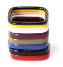 Set of 9 enameled rings