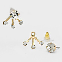 Crystal Drops Ear Jacket Earrings - more colors