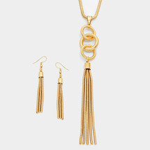 Circles Tassel necklace/Earrings Set Gold *Limited Edition*