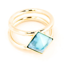 Square Two Band Midi Ring Gold