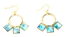 Three Square Earring Gold