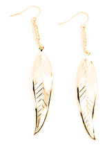 Feather Drop Earrings Gold