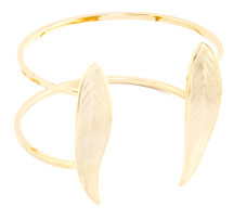 Two Feather Wire Cuff Gold/Silver