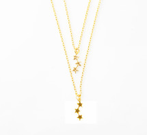 Tiny Stars Layered Necklace Gold