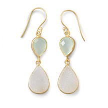 Chalcedony Meets Druzy Earrings *Sterling Silver*
