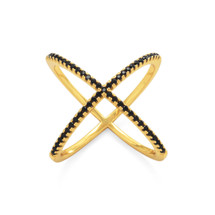 Criss Cross Black Ring *Sterling*