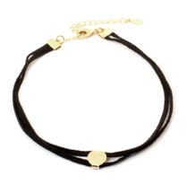Going In Circles Suede Choker -Gold