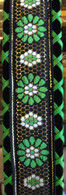 NEW JODI HEAD GUITAR STRAP BROCADE HANDLACED ETHEL GREEN
