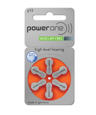 Power One hearing aid batteries size 13 mercury free