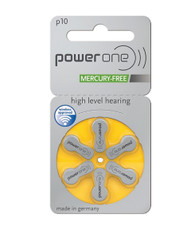 Power One hearing aid batteries size 10 mercury free