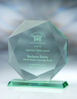 Jade Crystal Octagon Award, 3 Sizes Available